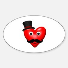 Mustache Love With Tophat Sticker (Oval)
