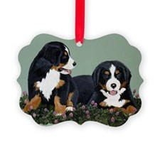 Bernese Pups in Clover.tif Ornament