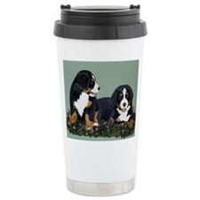 Bernese Pups in Clover.tif Travel Mug