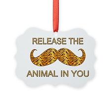 Animal In You Tiger Stripe Mustache Ornament