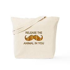 Animal In You Tiger Stripe Mustache Tote Bag
