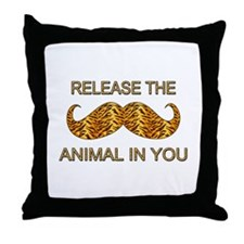 Animal In You Tiger Stripe Mustache Throw Pillow