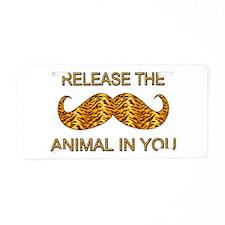 Animal In You Tiger Stripe Mustache Aluminum Licen