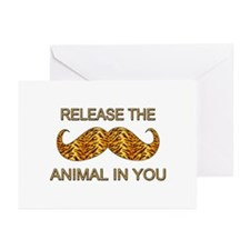Animal In You Tiger Stripe Mustache Greeting Cards