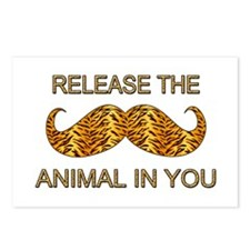 Animal In You Tiger Stripe Mustache Postcards (Pac
