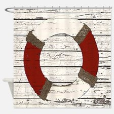 Red Life Ring Shower Curtain