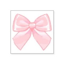 "Girly Bow Square Sticker 3"" x 3"""