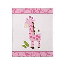 Bright Pink Giraffe Throw Blanket