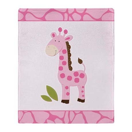 Bright Pink Giraffe Throw Blanket