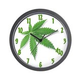 Marijuana leaf Wall Clocks