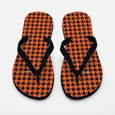 Houndstooth Orange Flip Flops