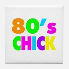 Neon Colors 80's Chick Tile Coaster