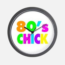 Neon Colors 80's Chick Wall Clock