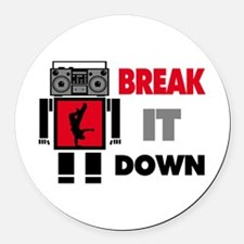 B Boy Boombox Robot Break It Down Round Car Magnet