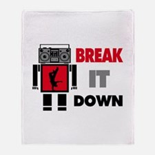 B Boy Boombox Robot Break It Down Throw Blanket