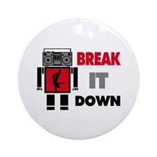B Boy Boombox Robot Break It Down Ornament (Round)