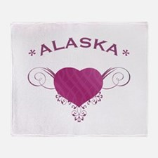 Alaska State (Heart) Gifts Throw Blanket