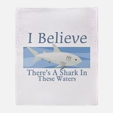 Shark In These Waters Throw Blanket