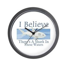 Shark In These Waters Wall Clock