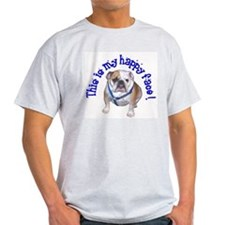 English Bulldog Happy Face Ash Grey T-Shirt