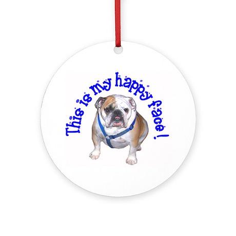 English Bulldog Happy Face Ornament (Round)