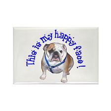 English Bulldog Happy Face Rectangle Magnet