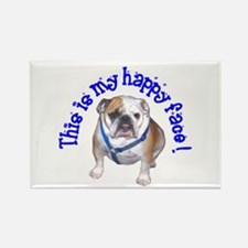 English Bulldog Happy Face Rectangle Magnet