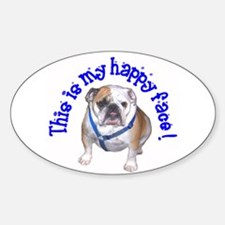 English Bulldog Happy Face Oval Decal