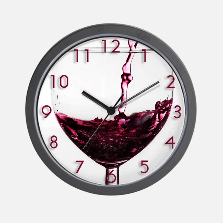 red red wine wall clock - Designer Kitchen Wall Clocks