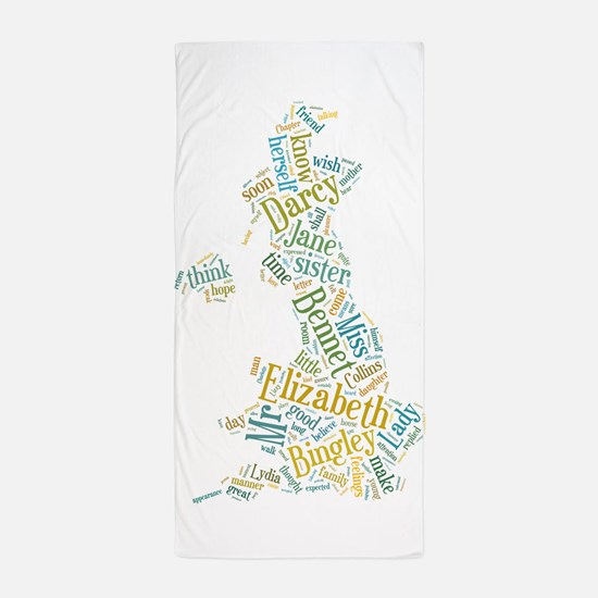 Pride and Prejudice Map Beach Towel