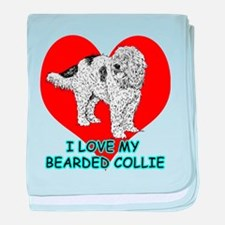 I Love My Bearded Collie baby blanket
