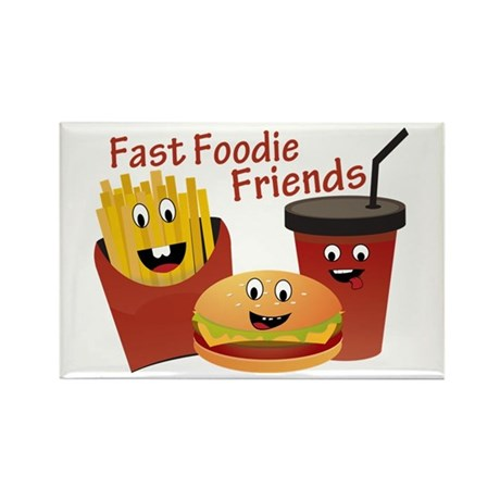 Smiling Fast Foodie Friends Rectangle Magnet