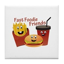 Smiling Fast Foodie Friends Tile Coaster