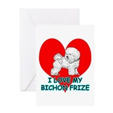 I Love My Bichon Frize Greeting Card