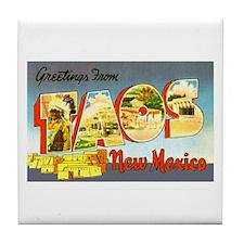 Taos New Mexico Greetings Tile Coaster