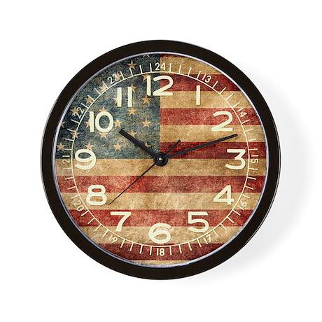 American flag grunge Wall Clock