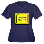 Two Way Traffic 3 Women's Plus Size V-Neck Dark T-