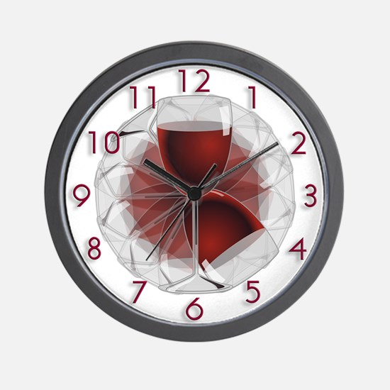 Wineglass Art Wall Clock