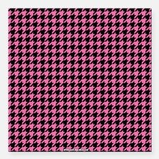 """Houndstooth Pink Square Car Magnet 3"""" x 3"""""""