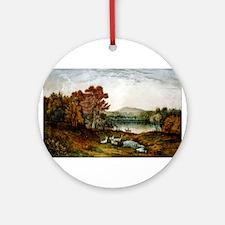 Autumn on Lake George - 1907 Round Ornament