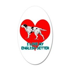 I Love My English Setter 35x21 Oval Wall Decal