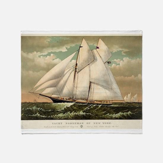 Yacht Norseman of New York - 1882 Throw Blanket