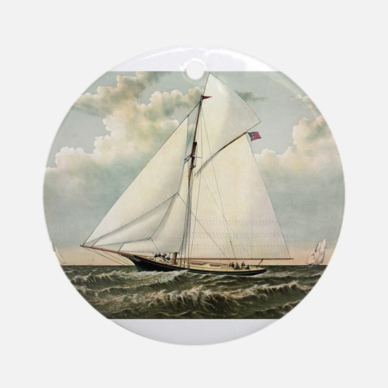 Yacht Gracie of New York - 1882 Round Ornament