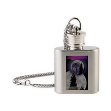 Moon Wolf Flask Necklace