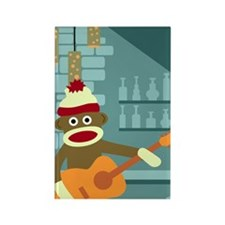 Sock Monkey Acoustic Guitar Player Magnet