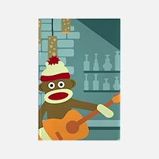 Sock Monkey Acoustic Guitar Player Magnet