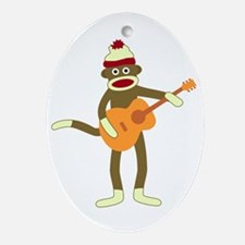 Sock Monkey Acoustic Guitar Player Ornament