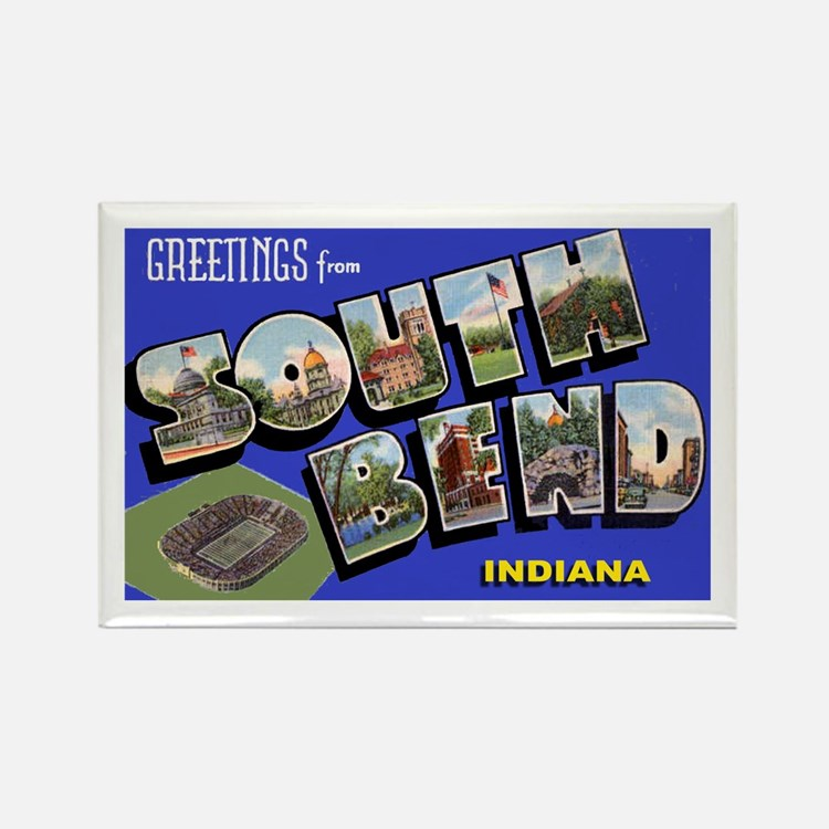 South Bend Indiana Greetings Rectangle Magnet