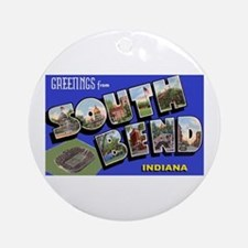 South Bend Indiana Greetings Ornament (Round)
