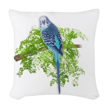 Blue Budgie on Green Woven Throw Pillow by TheHappyMuse